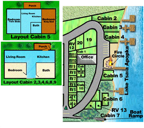 site map of cabins at Moonrise Resort